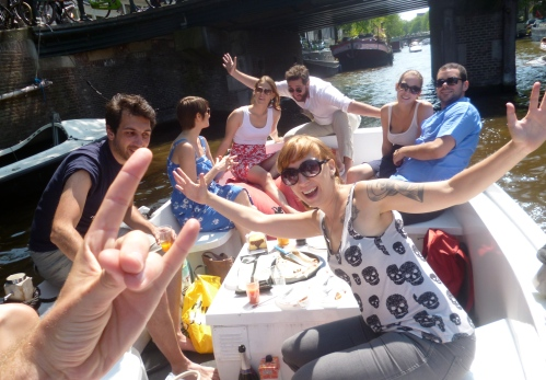 Boating through the canals in Amsterdam, summer 2013