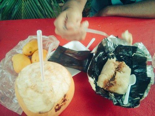 Island food: mangoes, coconut, tamales