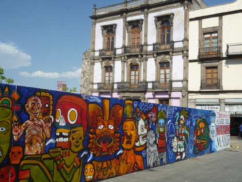 Street mural in the historical center of Mexico City