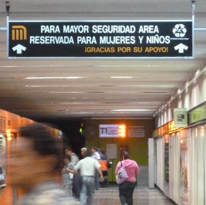 This area reserved for women and children (at a metro station in Mexico city)